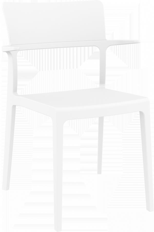 Terras stoel PLUS wit Siesta PP met armleggers (1)