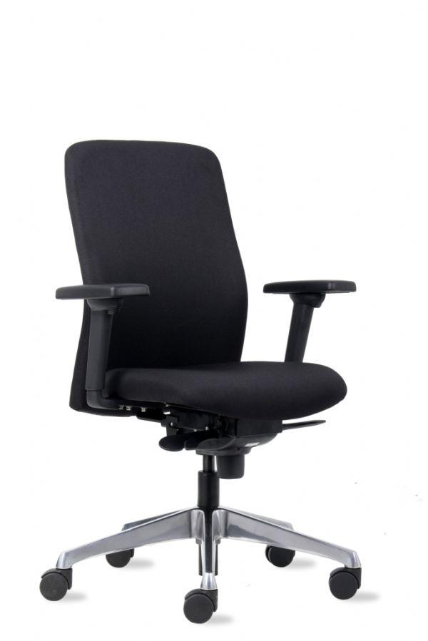 Bureaustoel Gerda zwart met aluminium voetenkruis en 3-D armleggers (1)