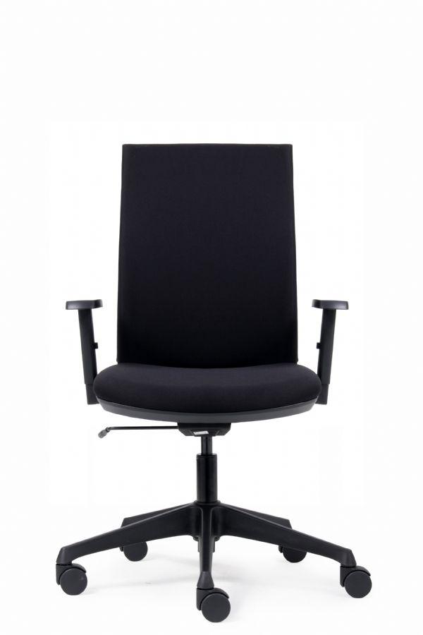 Kantoorstoel Joost met armleggers bekleding zwart (1)