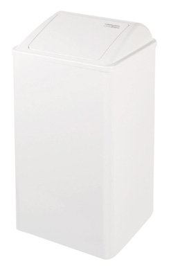 Grote afvalbak 65 liter wit staal Mediclinics PP0065 met push klep (1)