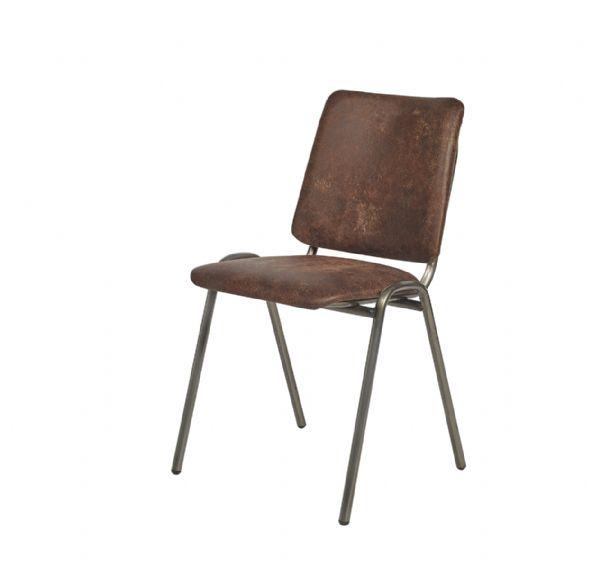 Vintage stoel 3112 met gestoffeerde zitting en rug in kunstleder Yacht (1)
