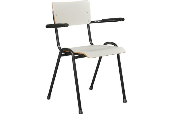 Kantinestoel Basic model 3303 met houten zit en rug met CPL en armleggers (1)
