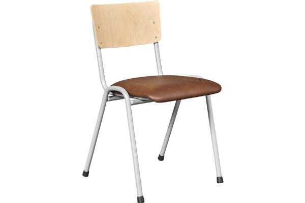 Kantinestoel Basic model 3308 met houten rug en gestoffeerde zitting (1)