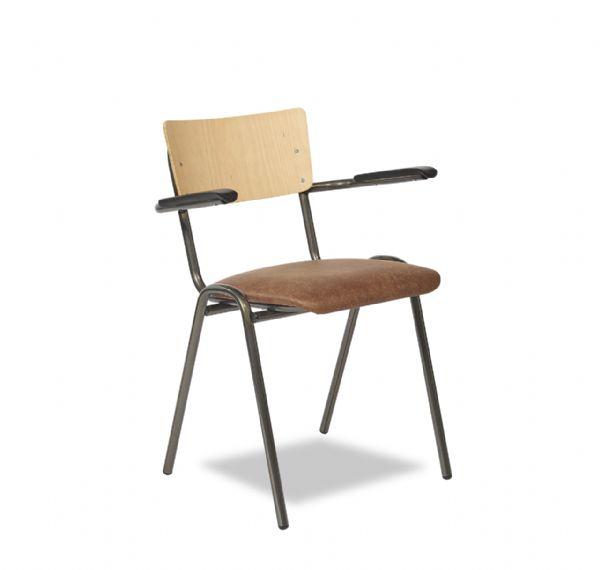 Vintage stoel 3309 met zitting in kunstleder en rug gebeitst (1)