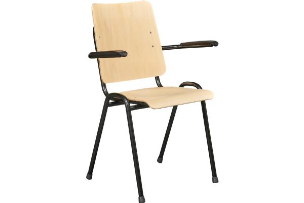 Kantinestoel PURE 3311 met armleggers en blank beuken zitting en rug (1)