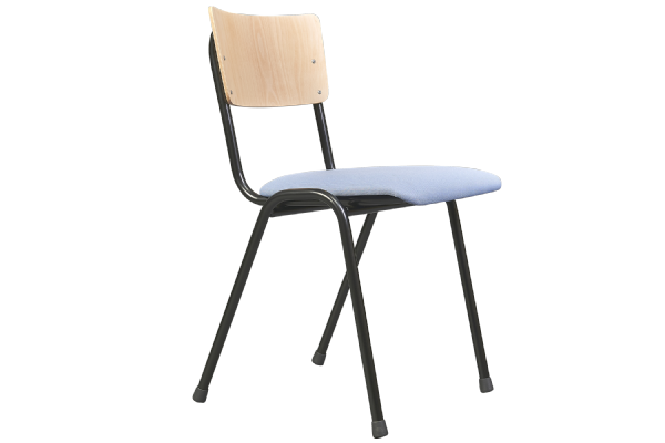 Stoel Basic model 3396 met houten rug en stoffen zitting (1)