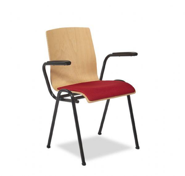 Kerkstoel Style 4423 met gestoffeerde zitting en armleggers stapelbaar (1)