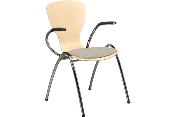 Vlinderstoel of wachtkamerstoel Style 4473 gestoffeerde zitting met armleggers (1)