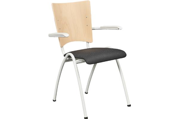 Stoel Style 5515 beuken rug en zitting stof met armleggers elegant en goed zitcomfort (1)