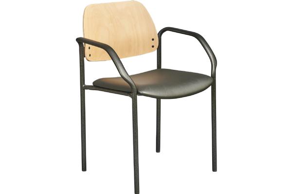 Vergaderstoel LEAN 5555 met gestoffeerde zitting en armleggers goed zitcomfort (1)