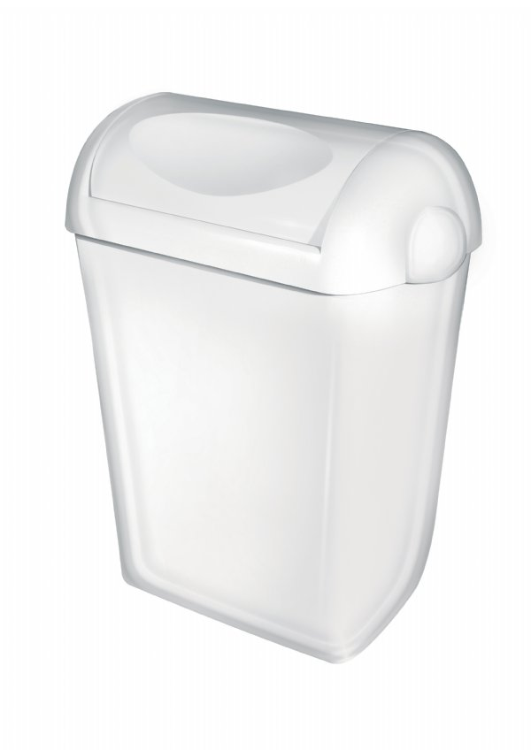 PlastiQ line afvalbak 23 liter wit kunststof met swing deksel PQSA23 (1)