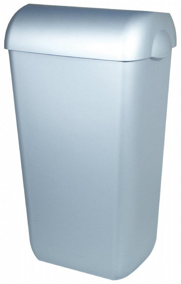 Afvalbak kunststof 23 liter RVS look met swing deksel van PlastiQ-line PQSA23M (1)