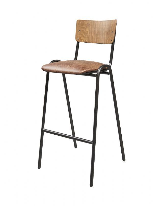 Barkruk vintage 6118 met beuken rug en kunstleder zitting (1)