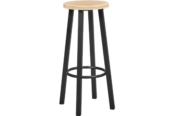 Barkruk 6661 Solid  met houten zitting rond en stalen frame 4 poot (1)