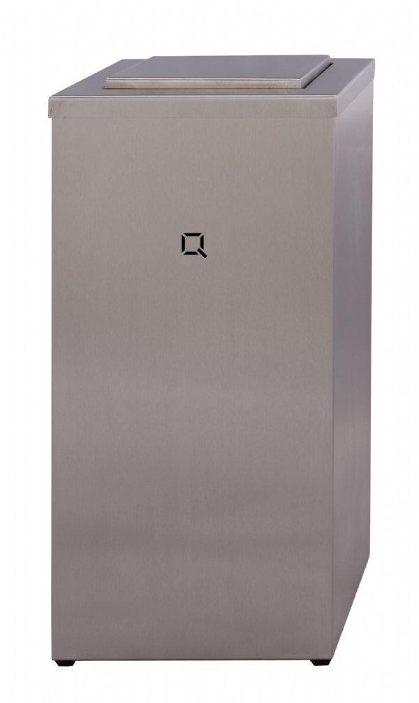 Afvalbak 30 liter RVS staal Qbic-line QWBC30SSL met swing deksel voor alle sanitaire of horeca ruimten (1)