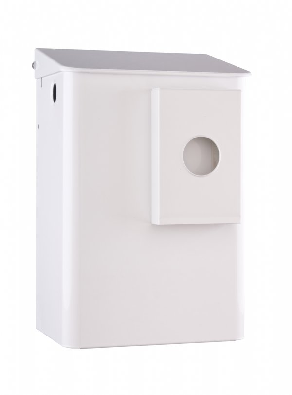 Toilet hygiënebak wit 6 liter met zakjes houder MediQo-line MQWB6HBKP voor elke toiletruimten (1)