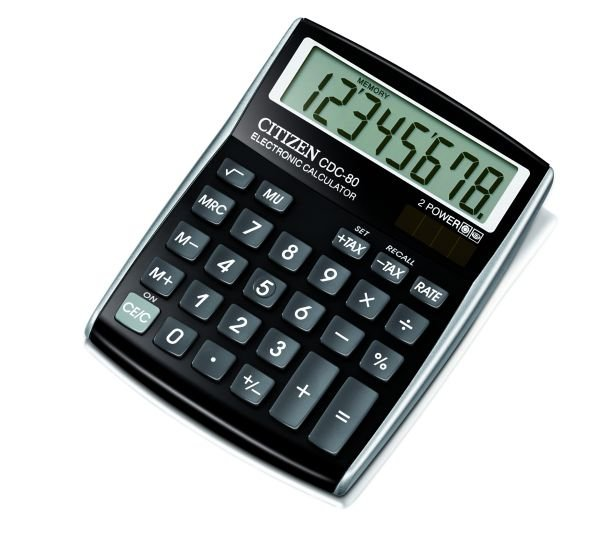 Citizen bureau rekenmachine allround, zwart CDC80BK (1)