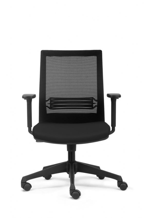 Goedkope bureaustoel Arnold zwart met rugbespanning en armleggers (1)