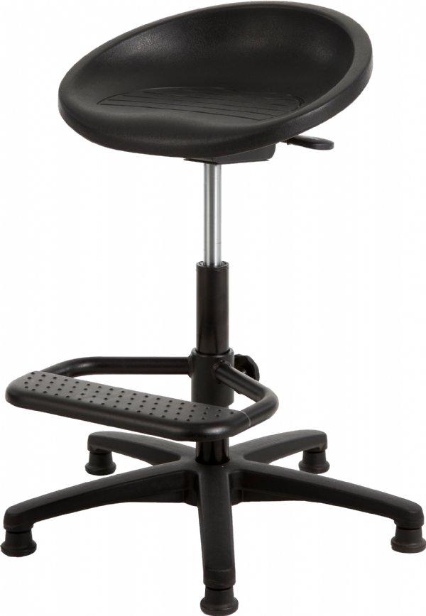 Stahulp P3 267 met ronde zitschaal PUR zwart en voetensteun (1)