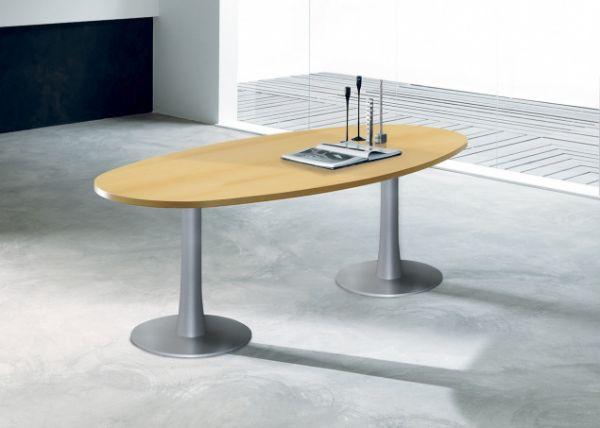 Ovale vergadertafel 240x110cm met 30mm dik blad (1)