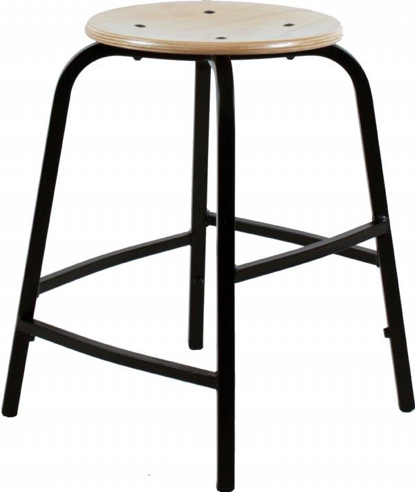 Hoge taboeretkruk of werkkruk TAH55 met beuken houten zitvlak sterke en goede kwaliteit (1)