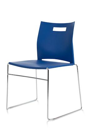 conferentiestoel cosmo donkerblauw met kunststof rug en zit