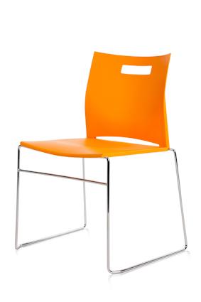 Conferentiestoel cosmo oranje met chroom onderstel